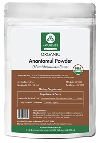 Naturevibe Botanicals USDA Organic Anantamul powder (8 ounces) – Hemidesmus Indicus – 100% Pure & Natural | Gluten Free and Non-GMO | Anti Oxidant herbal supplement | Overall Health Wellness