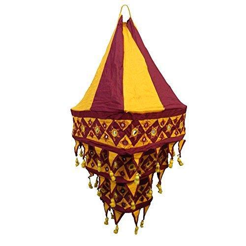 Abat-jour bordeaux et orange lanterne carrée patchwork en coton éclairage luminaire lampe tissu indien décoration intérieure indischerbasar.de
