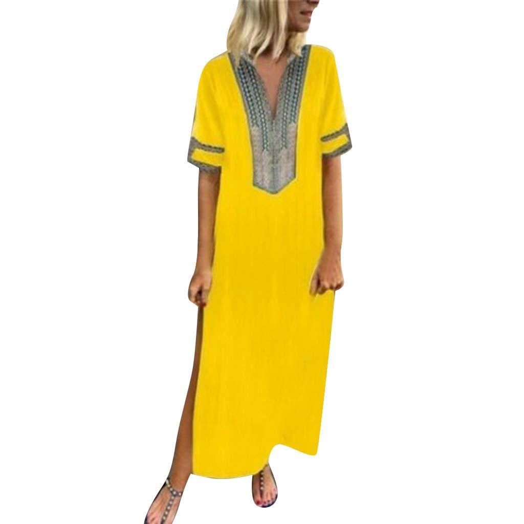 Shusuen Women Bohemian Casual Loose Vintage Printed Ethnic Style Summer Shift Dress Short Sleeve Split Maxi Tunics Yellow by Shusuen_Clothes