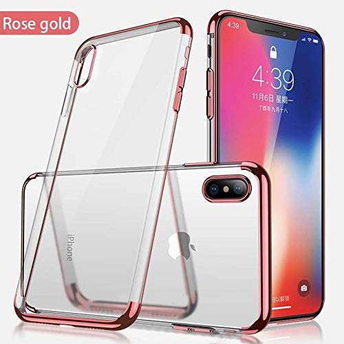 iPhone Xs Max Case, Champi Clear Protective Heavy Duty Case with Soft TPU Bumper [Slim Thin] Case for iPhone Xs max - Shockproof Plating Clear Slim Hybrid Bumper Case Cover (Rose) from Champi
