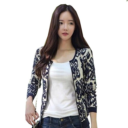 Sexyinlife Fashion Vintage Embroidered Flowers Knitted Cardigan Coat Black
