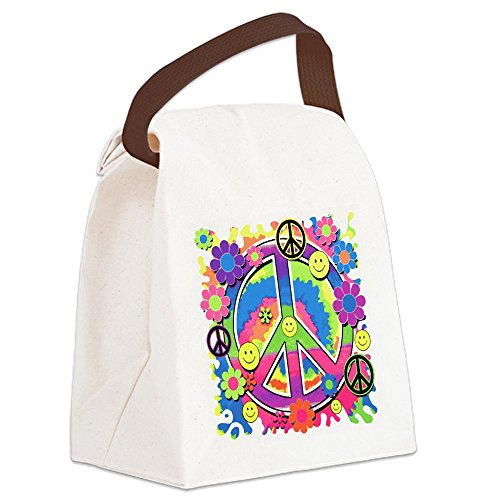- Canvas Lunch Bag Neon Smiley Face Floral Peace Symbol