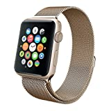 Apple Watch Band, Mignova Replacement Fully Magnetic Closure Clasp Mesh Loop Milanese Stainless Steel Bracelet Strap for Apple Watch Sport iWatch Series 1 Series 2 (38mm - Vintage Gold)
