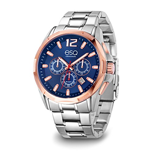 ESQ Men's 'Sport' Quartz Stainless Steel Casual Watch, Color:Silver-Toned (Model: 37ESQE14101A) - Esq Quartz Watch