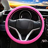 Soft Silicone Car Steering Wheel Cover Non-Slip Car Decoration Steering Wheel Cover (Pink))