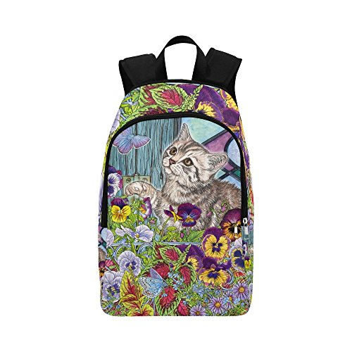 - Unique Debora Custom Outdoor Shoulders Bag Fabric Backpack Multipurpose Daypacks for Adult with Design Kitty Butterflies Pansies