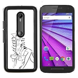 """Be-Star Único Patrón Plástico Duro Fundas Cover Cubre Hard Case Cover Para Motorola Moto G (3rd gen) / G3 ( Escudo con estilo de dibujo Sketch Fashion Girl Art"""" )"""