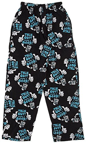 Fun Boxers Mens Beer & More Beer Fun Prints Pajama & Lounge Pants, This Guy Needs a Beer, Large