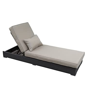Abba Patio Outdoor Rattan Wicker Adjustable Pool Chaise Lounge Chair With Cushion And Pillow