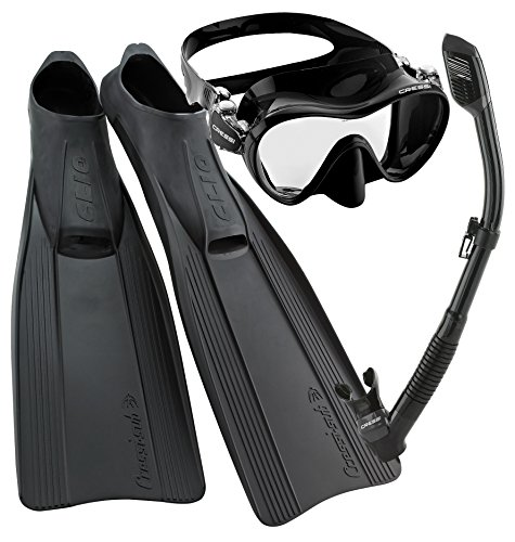 Cressi Clio Full Foot Fin Frameless Mask Dry Snorkel Set with Carry Bag, Black, Size 7/8-Size 41/42