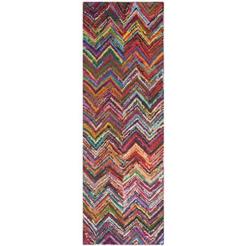 Safavieh Nantucket Collection NAN141A Handmade Abstract Chevron Pink and Multi Cotton Runner Rug (2'3 x 12′)