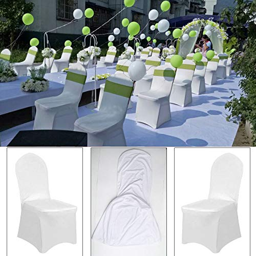 YJYdada 1pcs White Flat Arched Front Covers Spandex Lycra Chair Cover Wedding Party (A) by YJYdada (Image #3)