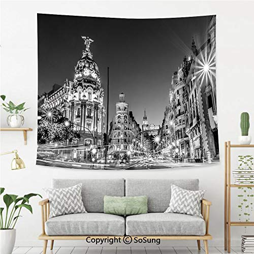 Black and White Decorations Wall Tapestry,Madrid City Night Spain Main Street Ancient Architecture Decorative,Bedroom Living Room Dorm Wall Hanging,92X70 Inches,Grey