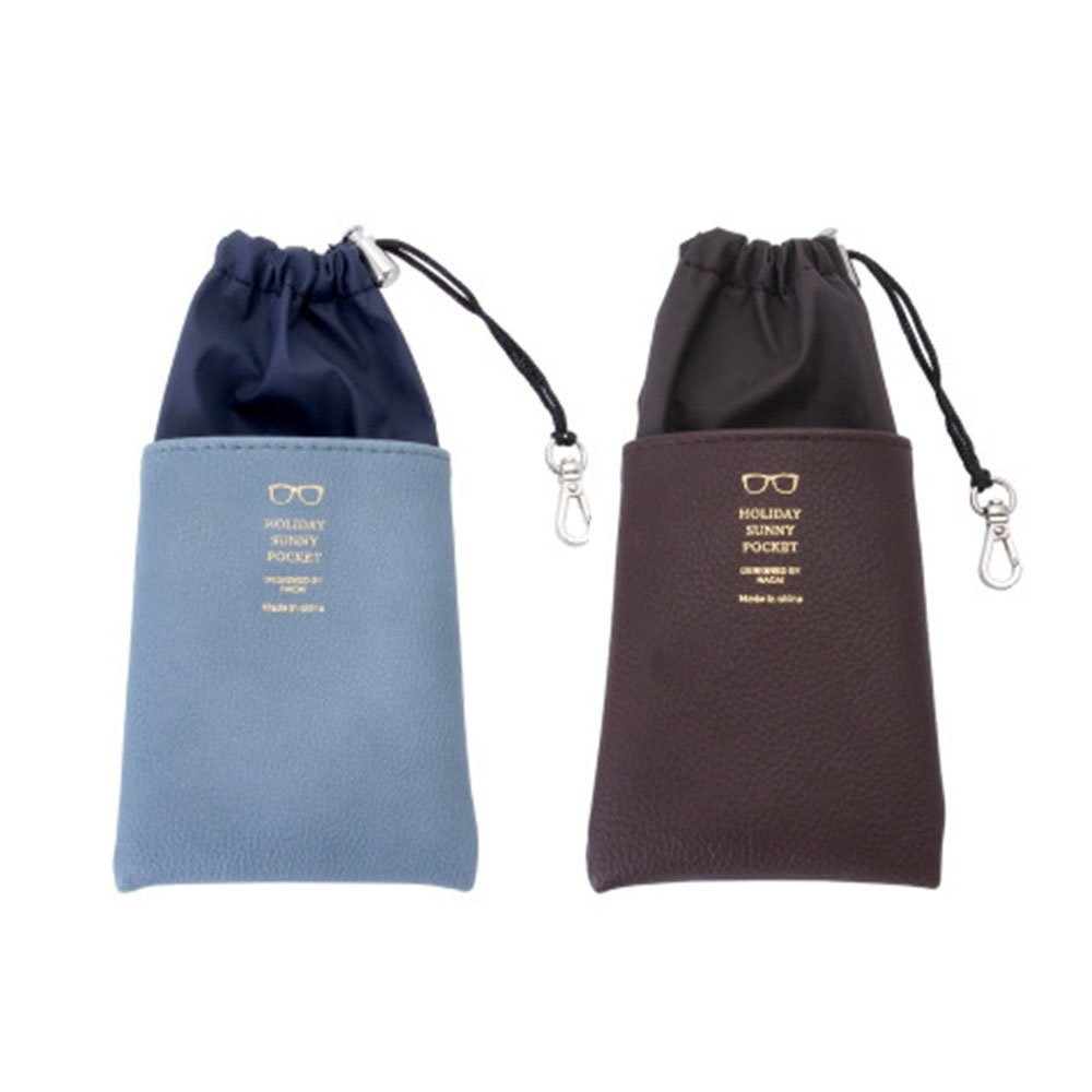 Portable Soft Glasses Case 2PACK Drawstring Sunglasses Pouch with Cleaning Cloth (blue+brown)