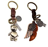 [ Pack of 2 ] Punk Style Leather Car Key Chain Handbag Key Ring Pendant Holder,Birthday Gift for Girl Friends Classmate Sister -- Angel Wings and Bear
