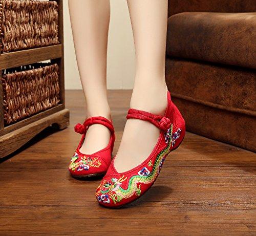 Tela ¨¦tnico zl de red Casual Zapatos Zapatos Bordados del xiezi c¨modo del Aumento Dentro Moda Femenina Estilo Tend¨n lenguado q04R6wv