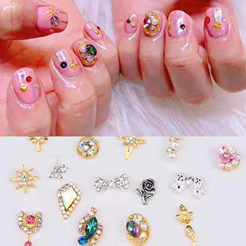 30pcs Crystal Bows Nail Art Decoration Flowers Sparkle Rainbow Gems Pearl New 3d Nail Charms Designer Jewelry Supplies]()