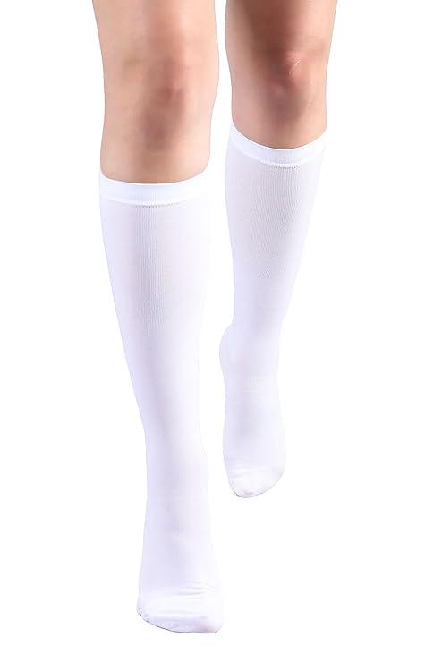 MD Calcetines de Compresión de Medias Hasta la Rodilla con Banda Antideslizante 15-20mmHg WhiteM