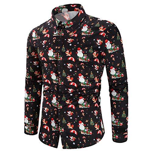 GREFER Men T Shirt Casual Snowflakes Santa Candy Printed Chr