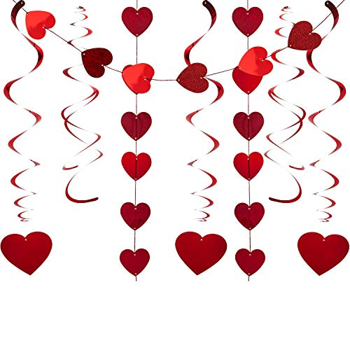 YIHONG 30 Pcs Valentines Day Decorations Hanging Swirls, 18 Red Love Hearts Swirls + 6 Double Swirl Strand+ 6 Heart Garland for Valentine's Day Wedding Party Supplies ()