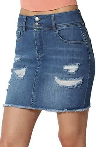 79e1707a66 TheMogan Vintage Ripped Jean Distressed Pencil Mini Midi Denim Skirt