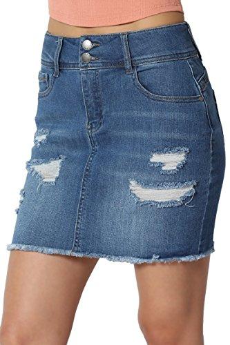 Back Yoke Denim Jean - TheMogan Junior's Distressed Ripped Stretch Yoke Back Denim Mini Skirt Medium S