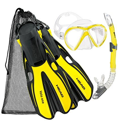 HEAD Mares Marlin Mask Fin Snorkel Set with Shoulder Carry Bag (Yellow, M/L,...