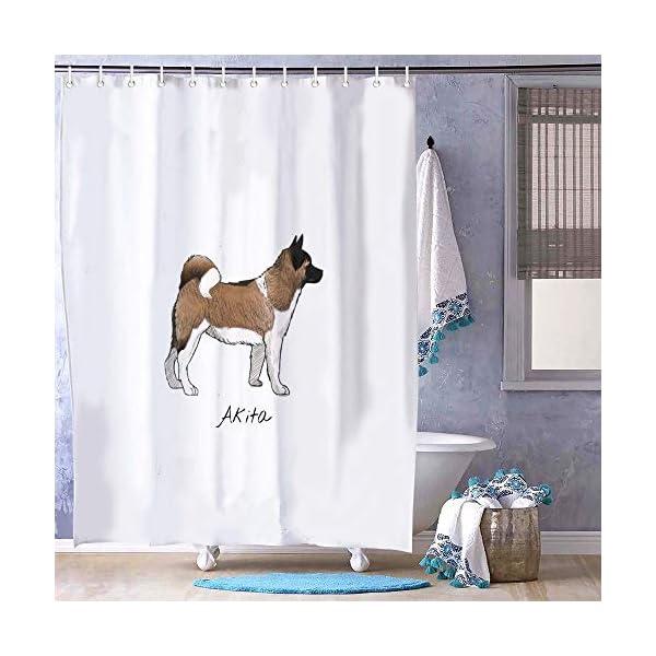 "FabricMCC Shower Curtain, Bath Curtain 71"" x 79"" Akita, Surreal Bathroom Decor 1"