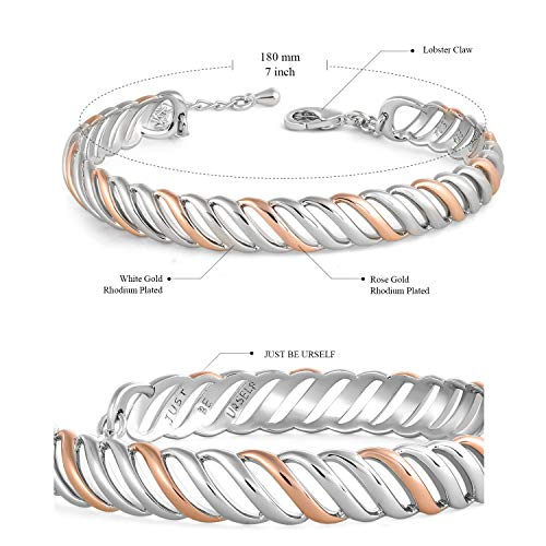 SNZM 14K White and Rose Gold Plated Twist Cuff Bangle Bracelet Jewelry for Women Gift for Her Free Package Box by SNZM (Image #4)