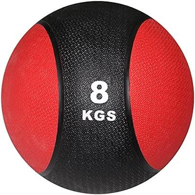 POWRX - Balón Medicinal 8 kg + PDF Workout (Negro/Rojo): Amazon.es ...