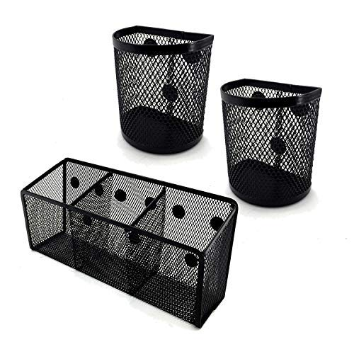 Magnetic Pencil Holder Kit-with 1 Big and 2 Small Pen Holder-Magnetic Marker Holder-Basket Organizer-Extra Strong Magnets Pen Holder-Perfect for Your Whiteboard-Fridge-Locker Accessories