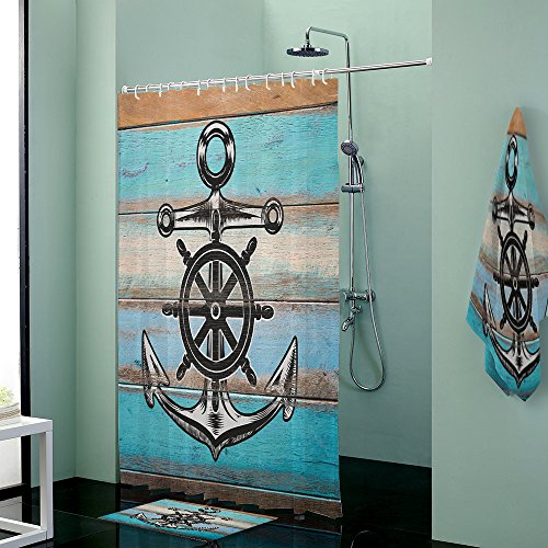 Beauty Decor Waterproof Shower Curtain With rugs mat bath towels,Nautical Anchor Rustic Wood background for bathroom Accessory Set