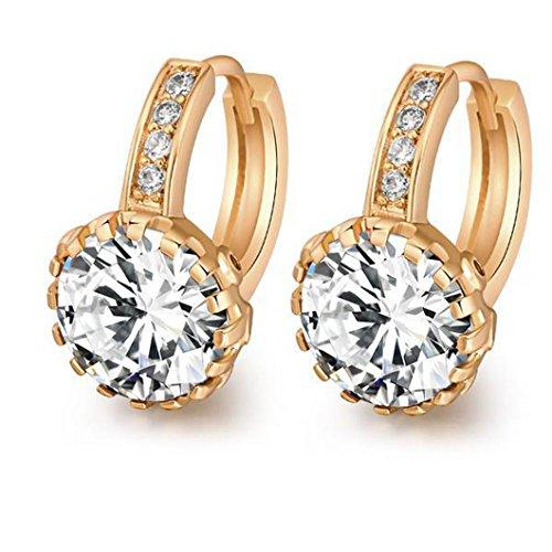 (18K Yellow Gold Plated Jewelry 9mm Flower Round Topaz Zircon Drop Hoop Women Party Earrings Wedding - Green/Red/White)
