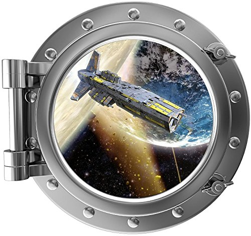 12'' PortScape Instant Space Window view Spaceship Orbiting Planet #1 Porthole Wall Graphic Decal Sticker Mural Home Kids Game Room Art Decor NEW