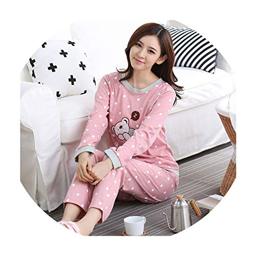 The best of us Women Pajamas Set Striped Bear Sleepwear Cartoon Fashion Long Sleeve Sleepwear Suit 2 Piece Pyjamas Mujer,Sleep Bear,M ()