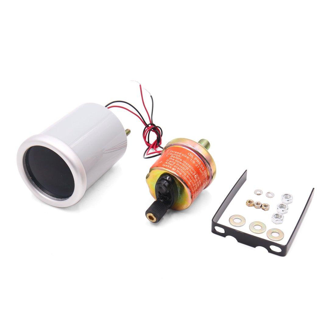uxcell 0-100 Psi 2'' 53mm Dia LED Light Car Pointer Oil Pressure Gauge Meter w Sensor