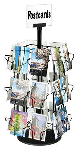 Post Card Display Stand With 24 Pockets For Countertop Use, 28-1/4 Inches Tall, Black Rotating Wire Rack With Molded Plastic Base And Sign Clip