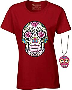 Women's Pink Flowers Sugar Skull T-shirt Day of the Dead Shirt + Skull Necklace
