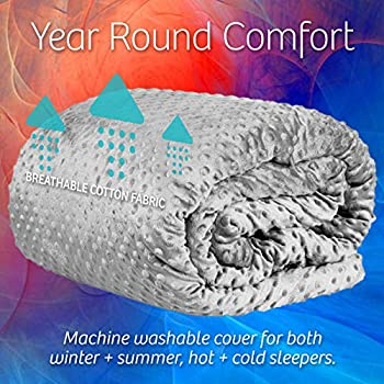 Image of Adult Weighted Blanket with Minky Cover: Queen Size 15 Pound Heavy Sensory Comforter Helps to Aid Sleep and Promote Relaxation | for Adults Between 120 and 180 Pounds - 60 x 80 Inches, Gray zenthetics B07JHH3KKN Weighted Blankets