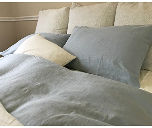 Amazon.com: Duck Egg Blue Linen Duvet Cover Handmade, Natural ... : linen quilt king - Adamdwight.com