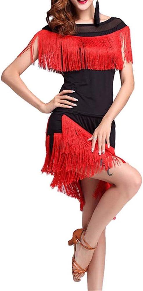 Ropa de baile latino Mujeres borlas Tango Rumba Traje de baile latino Traje de malla Camisa de cuello redondo Top con baile Falda Salón de baile Ropa de baile Entrenamiento Práctica Traje