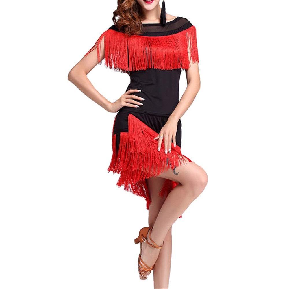Noir Robe de danse latine Robe de perforhommece Femmes glands Tango Rumba Robe De Danse Latine Outfit Maille Col Rond Chemise Top avec Danse Jupe Danse De Ballroom Dancewear Entraînement Pratique Costume De Large