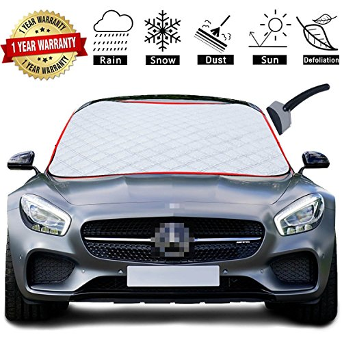 SHEJIZE Car Snow Cover,Windshield Cover,Frost Car Cover with Ice Scraper,Ultra Durable Weatherproof Design, Suppose for Most Cars/SUV,Trucks Vans