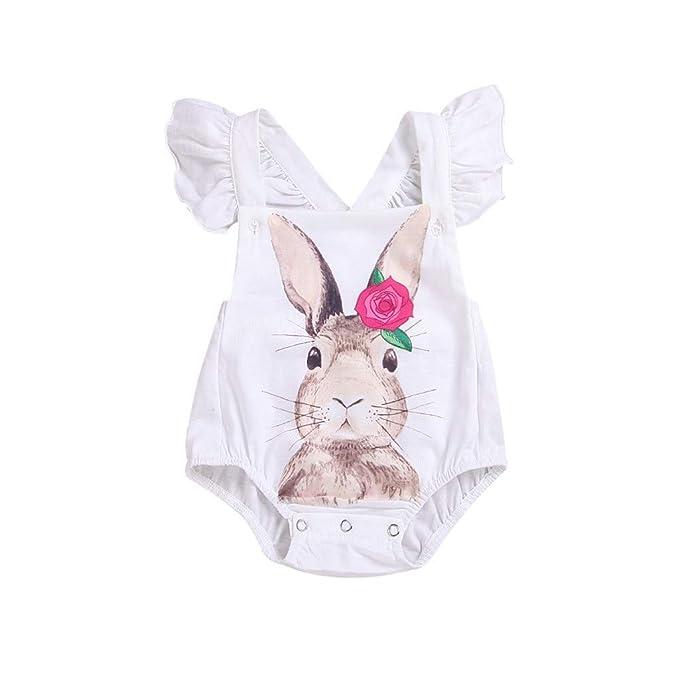 Pascua Ropa Bebé Niñas Romper Jumpsuit Conejo Mameluco Mono Recién ...