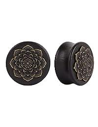 Oasis Plus Brass Rose Flower Black Organic Wood Tunnels Double Flared Ear Stretcher Saddle Plugs Gauge 8mm - 20mm