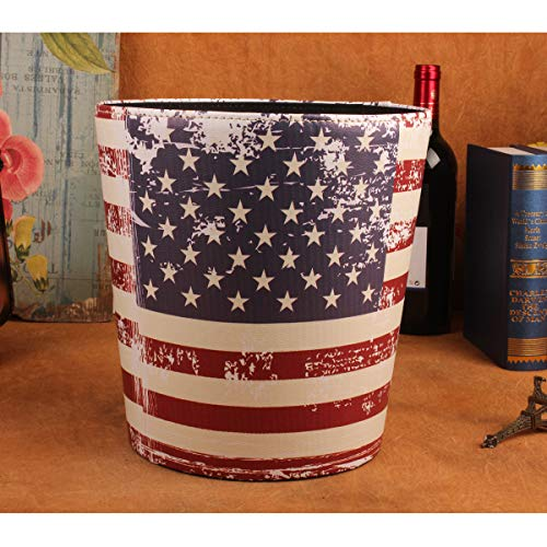 - Tsun Waste Bins, Retro Leather Wastebasket PU Leather Round Trash Can Household Dustbin Garage Can Waste Basket for Office School Bar Bedroom (Star Flag)