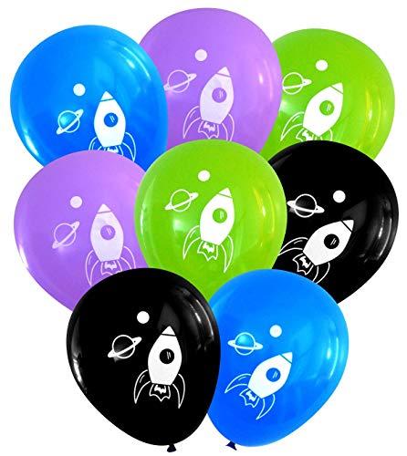 - Rocket Ship Space Latex Balloons (16 pcs) by Nerdy Words (Blue, Purple, Lime, Black)