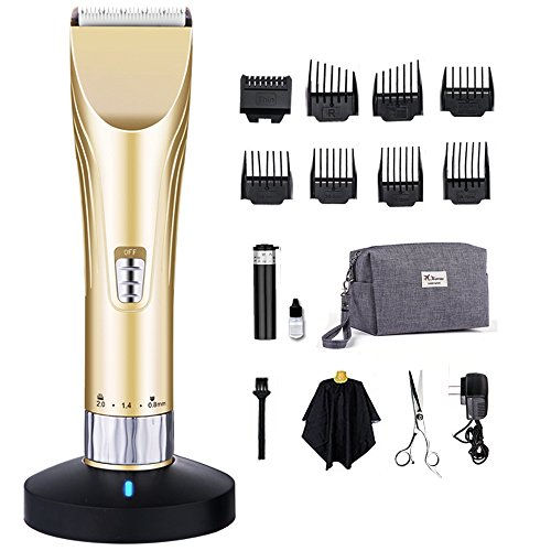 GLODEALS Professional Hair Clippers Set for Men and Kids Baby with Attachments Combo Self Haircut Kit with Storage Pouch Cordless Quiet Adjustable (Gold)