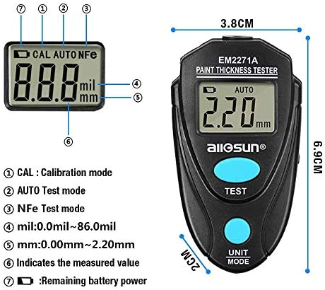 HYY-YY Portable Scientific EM2271A Digital Thickness Gauge Coating Meter Fe/NFe 0.00-2.20mm For Car Thickness Meter