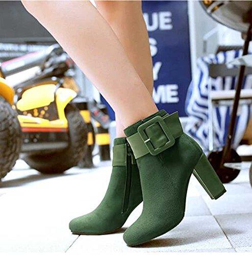 Chfso Femmes Mode Daim Solide Bout Rond Boucle Zipper Chunky Haut Talon Cheville Bottes Vert